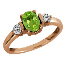 1.00 Ct Oval Peridot and Diamond Gold Plated 925 Silver Ring