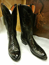 Lucchese Boots Genuine Ostrich Leg & Goat Leather Black Cherry Men's Handcrafted