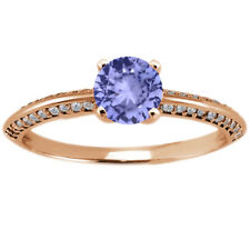 1.04 Ct Round Blue Tanzanite 925 Rose Gold Plated Silver Ring