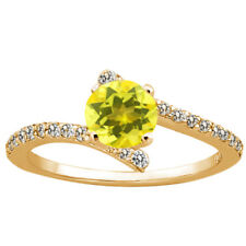 1.34 Ct Round Canary Mystic Topaz 925 Yellow Gold Plated Silver Ring