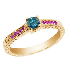 0.35 Ct Round Blue Diamond Pink Sapphire 925 Yellow Gold Plated Silver Ring
