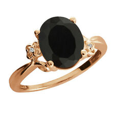 2.23 Ct Oval Black Onyx Sapphire Rose Gold Plated 925 Silver Ring