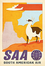 Vintage Art Deco SOUTH AMERICAN AIR Travel/Promotional Poster A1,A2,A3,A4 Sizes