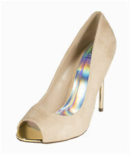 Dash! By Delicious Sexy Peep-toe Stiletto Pumps in Oatmeal Faux Suede