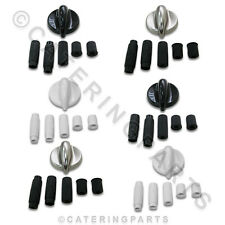 UNIVERSAL REPLACEMENT 6 x OVEN KNOBS CHOICE OF COLOURS BLACK WHITE OR SILVER