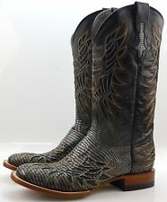 Lucchese M4546 Mens Black Silver Metallic Lizard Western Cowboy Boots With Inlay