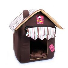 HY NEW Soft Cozy Luxury Chocolate Tent House Pet Bed For Small-Medium Dog Cat