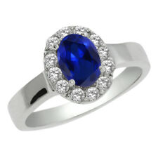 1.50 Ct Stunning 7X5mm Oval Created Sapphire and CZ 925 Sterling Silver Ring