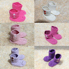 Cute Handmade Knit Cotton Crochet Girl Baby Boots Shoes Newborn Photo Props New