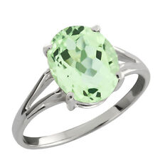2.65 Ct Green Oval Amethyst and Sterling Silver Ring