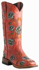 Lucchese M5826 Red Picasso Leather Womens Western Cowboy Boots With Rose Stitch