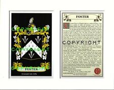FLATLEY to FOSTER Family Coat of Arms Crest + History - Mount or Framed