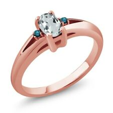0.47 Ct Sky Blue Oval Aquamarine and Diamond Rose Gold Plated Silver Ring