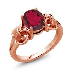 2.30 Ct Oval Ruby Mystic Quartz Rose Gold Plated 925 Silver Ring