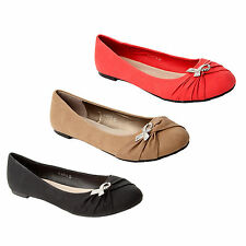 WOMENS DIAMANTE FLAT BALLET DOLLY PUMPS SHOES LADIES BIG SIZES UK 7-10