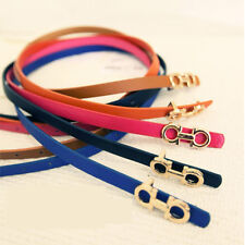 Fashion Women Solid Color Buckle Leather Waist Belt Thin Skinny Waistband