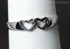 .925 Sterling Silver Thin Double Open Hearts LOVE ROMANTIC Ring High Polish