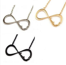 Hot 1D One Direction Infinity '8'Pendant Chain Necklace Silver/Gold/Black kj1788