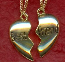 Best Friends Necklaces 2 Gold or Silver Plated Chains Bestie Share split for BFF
