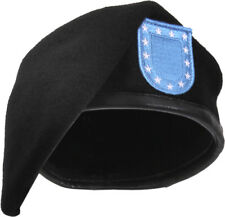 Black Military Inspection Ready Wool Beret With Flash
