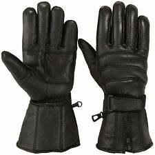 Genuine Leather Motorcycle Gloves Thinsulate Motorbike Biker Glove Black