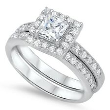 .925 Silver Princess Cut Clear CZ Promise Wedding Ring Set Size 5 6 7 8 9 10 NEW