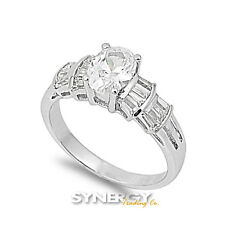 .925 Sterling Silver Oval Cut Clear CZ Baguette Wedding Ring Promise Size 5-10