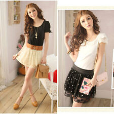 Summer Korean Fashion Women's Polka Dot Chiffon Lace skirt Pleated Mini Skirt