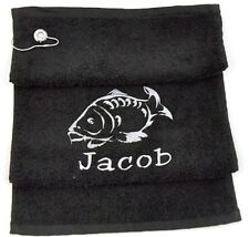 PERSONALISED CARP FISHING TOWEL EMBROIDERED WITH ANY NAME, NICKNAME WITH FISH!