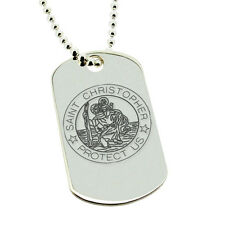 925 STERLING SILVER ST CHRISTOPHER DOG TAG PENDANT NECKLACE & ENGRAVING OPTIONS
