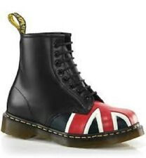Dr. Martens Men's 1460 Casual 8-Eye Lace Up Ankle Boots Union Jack Black Smooth