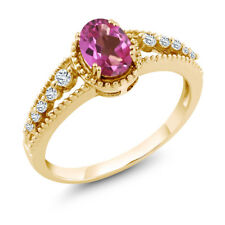1.01 Ct Oval Pink Mystic Topaz White Topaz 18K Yellow Gold Ring