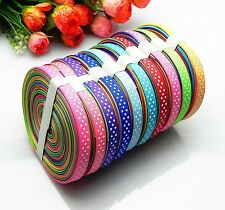 "2016 HOT sale 5-100 yards 3/8"" swiss dotty pattern sewing bow grosgrain ribbon"