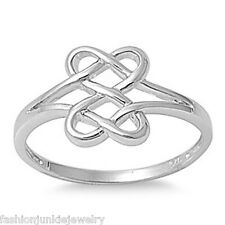 Celtic Knot Double Heart Ring - 925 Sterling Silver - Infinity Love Twist NEW
