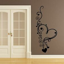 Floral Love Heart Flowers Wall Art Sticker Graphic Design Transfer Decal L24