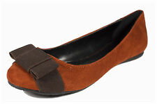 Time! Soda Women's Round Toe Slip On  Brown Bow Ballet Flats in Rust Faux Suede