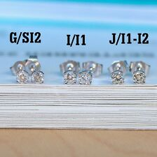 14k White or Yellow Gold Round Diamond Stud Earrings (choose size and clarity)