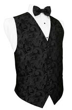Silk Paisley Tuxedo Vest with Matching Bow Tie - all sizes available