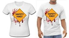 Halloween Fancy Dress UK Safety First Blood Soaked T-shirt Bloody TShirt