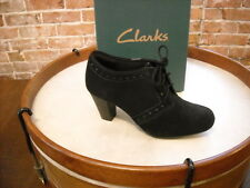 Clarks Black Suede Sapphire Chloe Lace Up Oxford Pump New