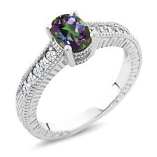 1.35 Ct Oval Green Mystic Topaz White Topaz 925 Sterling Silver Engagement Ring