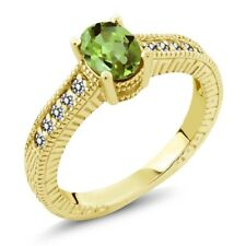 1.13 Ct Oval Green Peridot White Diamond 18K Yellow Gold Plated Silver Ring