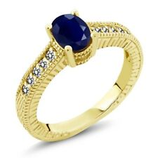 1.35 Ct Oval Blue Sapphire White Diamond 18K Yellow Gold Plated Silver Ring