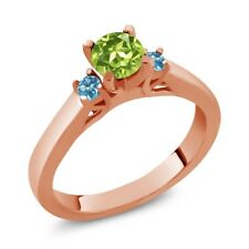 0.76 Ct Round Green Peridot Swiss Blue Topaz 925 Rose Gold Plated Silver Ring