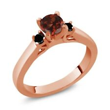 0.73 Ct Round Red Garnet Black Diamond 925 Rose Gold Plated Silver Ring