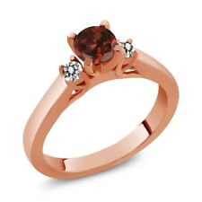0.73 Ct Round Red Garnet White Diamond 925 Rose Gold Plated Silver Ring