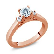 0.61 Ct Round Sky Blue Aquamarine White Topaz 925 Rose Gold Plated Silver Ring