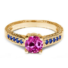 1.20 Ct Pink Created Sapphire Blue Sapphire 925 Yellow Gold Plated Silver Ring