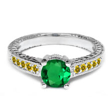 1.20 Ct Round Green Simulated Emerald Simulated Citrine 925 Sterling Silver Ring