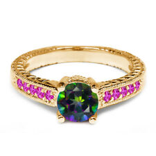 1.18 Ct Green Mystic Topaz Pink Sapphire 925 Yellow Gold Plated Silver Ring